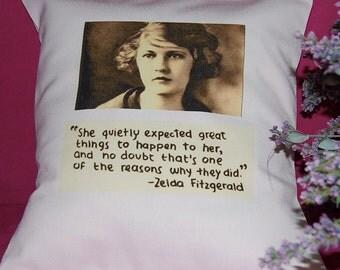Zelda Fitzgerald - Handmade Pillow - Sepia on Linen Cotton