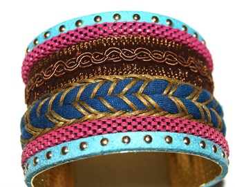 Handmade Boho Style Cuff Bracelet -  2 inches - Chiapan - Blue and Rose