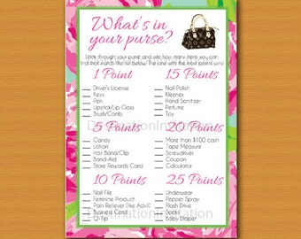 What's in Your Purse Game, Instant download, Bridal Shower Game, Baby Shower Game, Lilly Pulitzer, Louis Vuitton