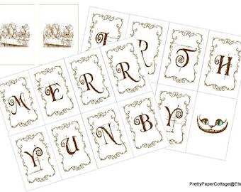 PRINTABLE, Merry Unbirthday,  Instant, Digital Download, Alice in Wonderland, Banner, DIY,  Party Decoration, PDF Files