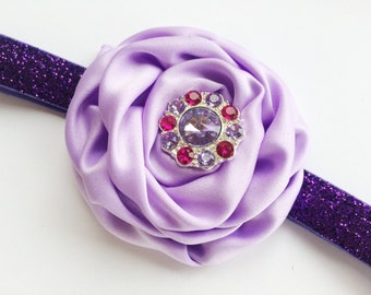 Girls Purple Easter Headband - Rose Headband Photo Prop - Children's Headband with Sparkles - Bling Headband for Girl - Special Occasion