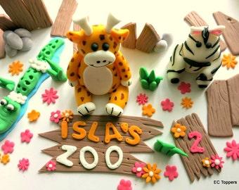 Jungle/ Safari/ Zoo Animal Fondant Cake Toppers Set