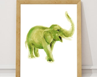 Green Elephant Kids Room Print, Colorful Watercolor Poster Room Decor, Abstract Animal Painting, Elephant Picture Nursery Wall Decoration