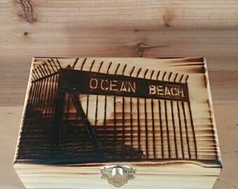Custom woodburned keepsake box with ocean beach, CA pier gate engraved on cover 4x6x2.5
