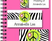 School Labels - Back to School - Zebra Print - Peace - Personalized Stickers, Personalized Labels, Zebra Labels, Tags