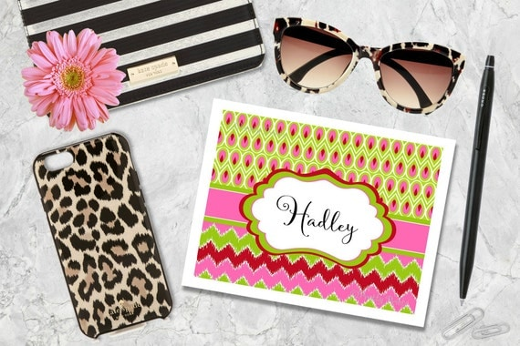 Chevron Note Cards - Personalized Note Cards - Pink - Lime - Red - Personalized Stationery - Custom Note Cards - Thank You Notes