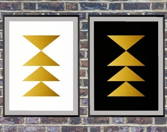 2 for the price of 1 Gold Triangles Print, Geometric Print, Scandinavian Gold Triangle print, Modern Wall Art *1*