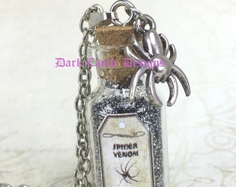 "20"" Silver Plated Chain with Spider Venom Glass Bottle Pendant Black/ Silver Pixie Dust Goth Fantasy Punk Rock"