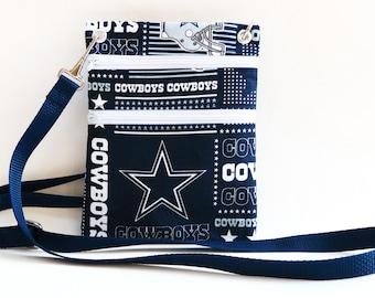 Dallas Cowboys Handmade Womens Fabric Wallet, Crossbody Bag, Passport, wallet sling or Purse made from NFL Dallas Cowboys Fabric
