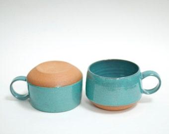 Handmade Pottery Mug - Ceramic Cup - Ceramic Coffee Mug - Tea Cup - Turquoise Cups - Pottery Mug - Turquoise Pottery - READY TO SHIP