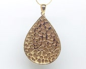 Fitbit Flex Pendant / Necklace - Metallic Gold and taupe leather pendant that stores Fitbit flex