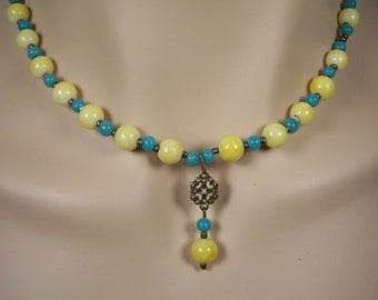Yellow and Blue Choker Necklace and Earrings
