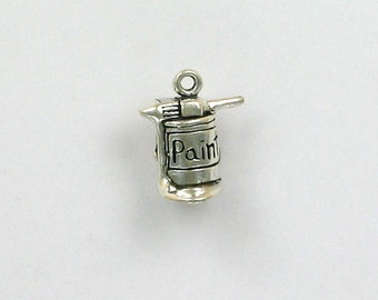 Sterling Silver 3-D Paint Can with Brush Charm