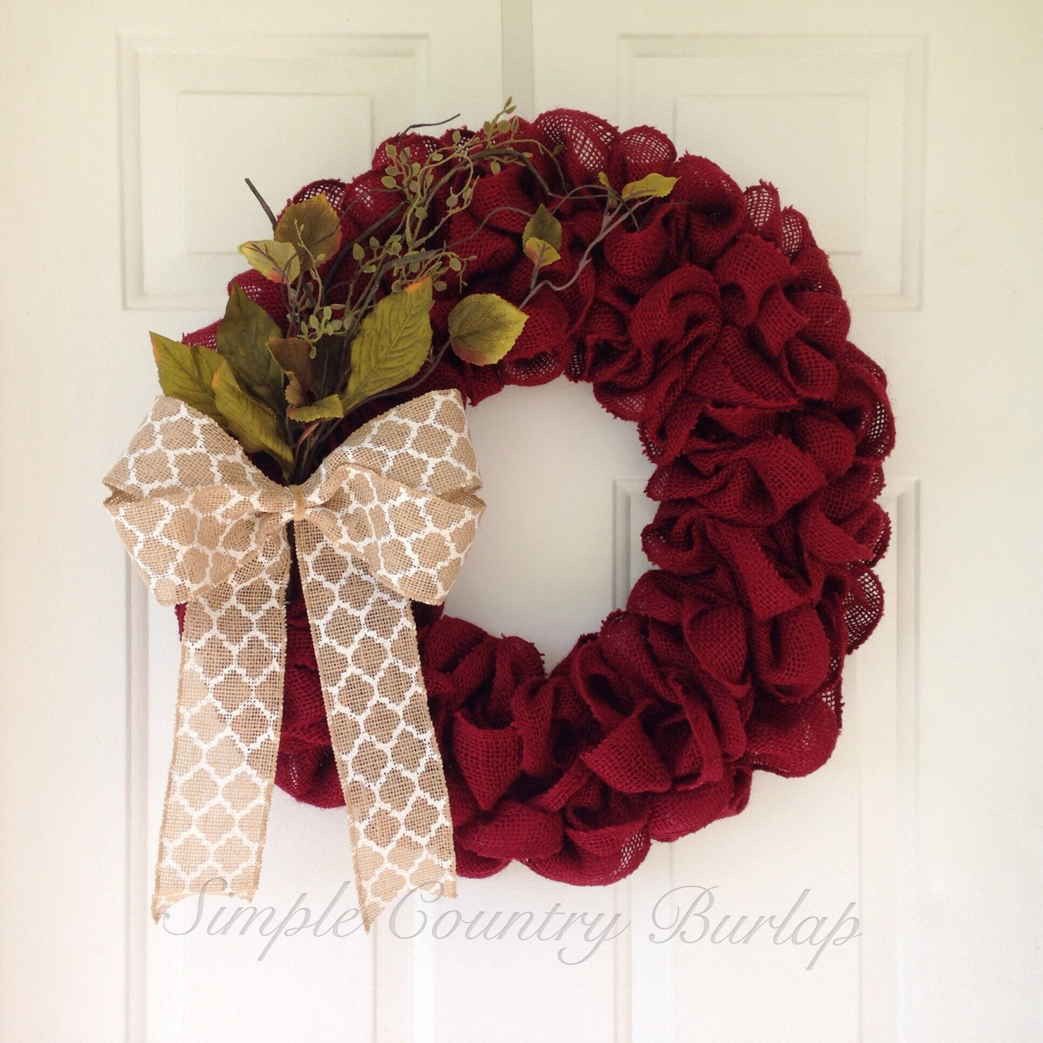 Burgundy rustic christmas burlap wreath by simplecountryburlap Burlap xmas wreath
