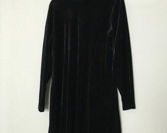 Womens vintage velvet high neck dress
