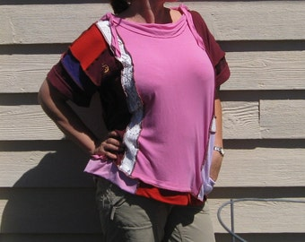 Upcycled Top Shirt Oversized Boho Hippie Patchwork Pink Purple Lace Size S-L