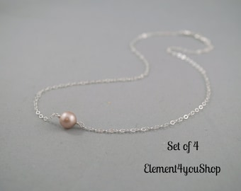 Set of 4 bridesmaid necklaces, Floating necklace, Single pearl necklace, Sterling silver jewelry, Simple delicate necklace Bridal party gift
