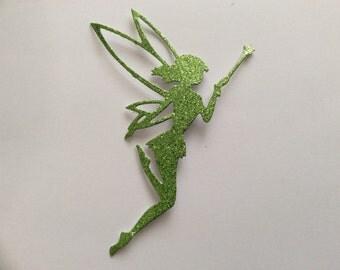 Die cut fairy - green glitter
