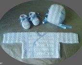 knitted baby set, sweater, bonnet and booties, angora, merino, cotton