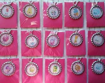 Adorable Shopkins Bottle cap necklaces party favors Set of 8