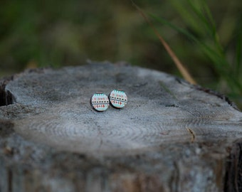 Teal+ Red Aztec Stud Earrings