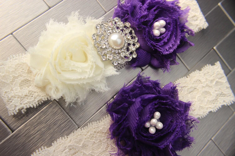 Purple Garter Set Royal Purple Wedding Garters Dark Purple