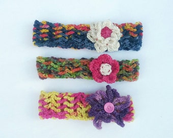 Floral headband **Made to order** simple headband, baby child adult sizes, party favours, crochet accessories, boho flower gift,