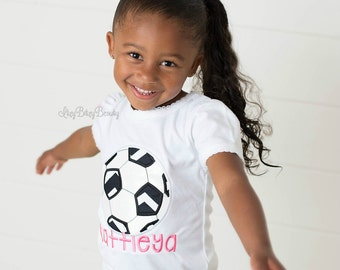 Soccer ball embroidered girls shirt custom personalized name