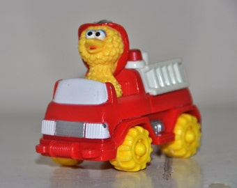 Tyco Preschool Toys Matchbox Big Bird Fire Truck Car - Vintage Collectible Sesame Street Toy Car - 1996