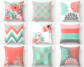 pillow covers throw pillow covers lucite green coral grey blush white spring pillow