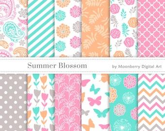 Floral Digital Paper, Butterflies Papers, Flowers Digital Papers, Fresh Papers, Scrapbook Paper, Dandelion, Butterfly, Paisley Digital Paper