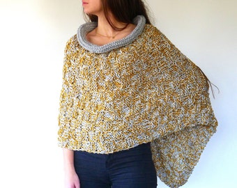 Knit poncho in mustard and grey | Grey cape poncho | Wool poncho | Hand knitted ponchos for women