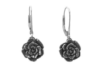Mini Rose Dangle Earrings, Rose Earrings, Dangle Earrings, Sterling Silver Earrings, Handmade