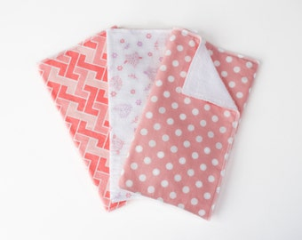 SALE Baby Girl Burp Cloth Set - Owl and Polka Dot Burp Cloth Set - Pink And White Burp cloth Set - Cotton Terry Cloth Burp Cloth Set - Owls