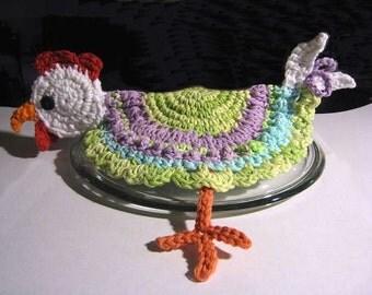 Kitchen Hot Pad Chicken Crochet Pattern - Kitchen Hot Lid Cover Chicken Pattern #Ki0001