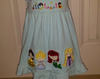 Princess Vacation Ruffle Dress Applique custom embroidery Disney Belle Aurora Ariel Rapunzel Cinderella Jasmine Anna Elsa