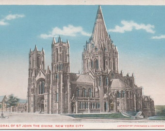 Cathedral of St. John The Divine, Unused Postcard,  New York City, c1920s, good shape