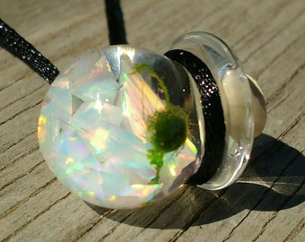 Marimo Necklace - Live Plant - Living Jewelry - Floating Opal Orb