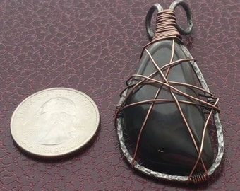 Smoky Energy - Hand Forged-One-of-a Kind-Annealed Steel & Antiqued Copper Jasper Stone Pendant
