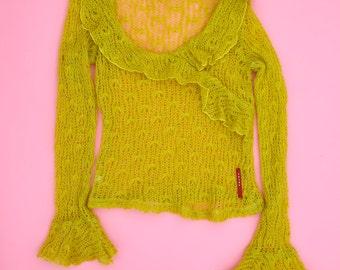 PRADA Neon Green Sheer Sweater