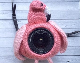 Knit flamingo camera buddy - Camera buddies, Shutter buddy, Shutter buddies, Shutter hugger, Lens pal, Lens critter, DSLR lens accessory