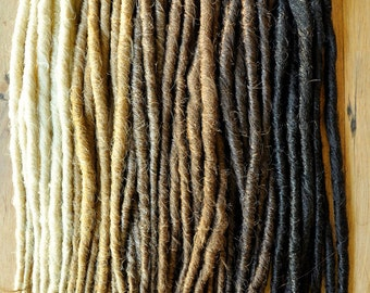 Dreadlock Extensions x 10 dreads, Single Ended and Backcombed, 10mm Thick, 50 cm Long (20inchs)