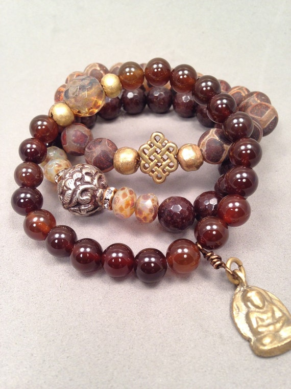 Eclectic bracelet mix, set of 3 coffee brown Agates and Jade stones