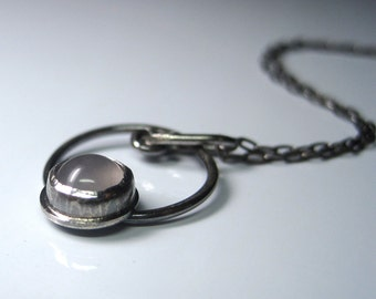 Rose Quartz in Oxidized Sterling Silver Circle Pendant Necklace with Hammered Clasp - Made to Order Gemstone Jewelry