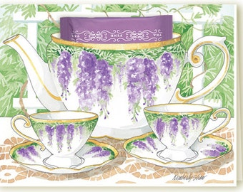 Wisteria Tea Party Teacup Greeting Card with Tea