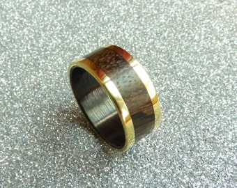 Bronze wood  and carbon fiber ring