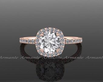 White Sapphire Engagement Ring, Diamond Alternative, Halo Engagement Ring, 14k Rose Gold, Promise Ring Re00071