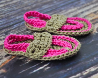 Baby Flip Flops - Hot Pink and Tan