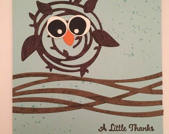 Stampin' Up! Handmade Card This cute Swirly Scribbles Owl says Thank You