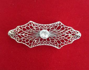 Victorian Art Nouveau Diamond and Platinum Pin Brooch - EB204